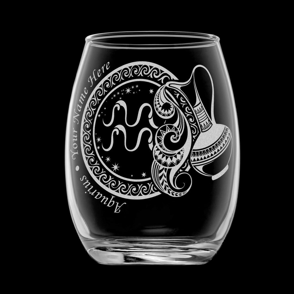 製化印上名字星座酒杯 (水瓶座)
