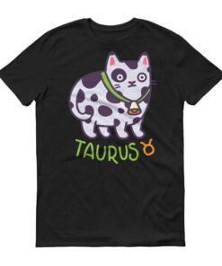 金牛座貓咪深色短袖T-Shirt