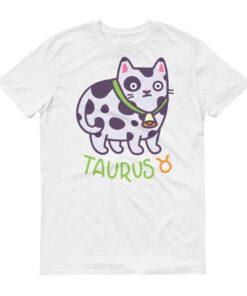 金牛座貓咪白色短袖T-Shirt