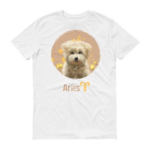 牡羊座狗白色短袖T-Shirt