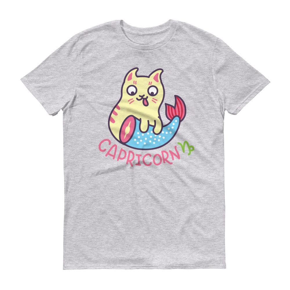 魔羯座貓咪淺色短袖T-Shirt