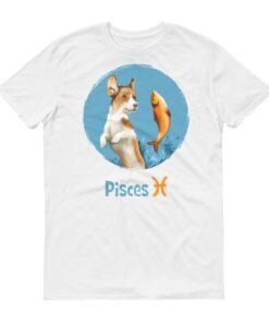 雙魚座狗淺色短袖T-Shirt
