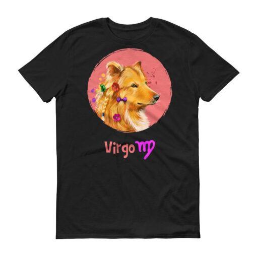 處女座狗深色短袖T-Shirt