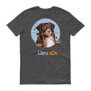 天秤座狗深色短袖T-Shirt