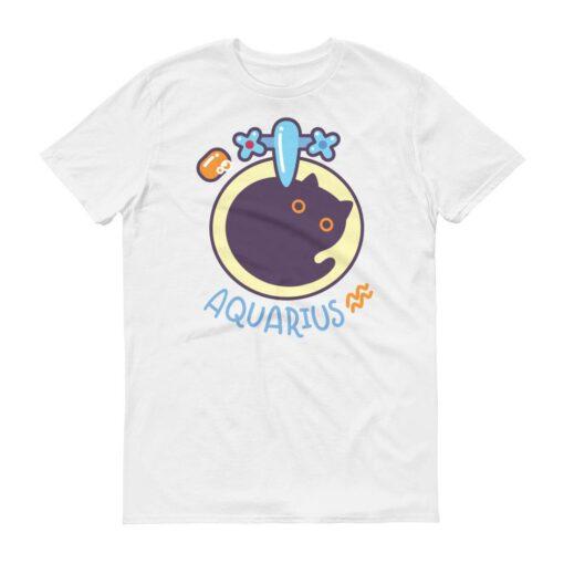 水瓶座貓咪白色短袖T-Shirt