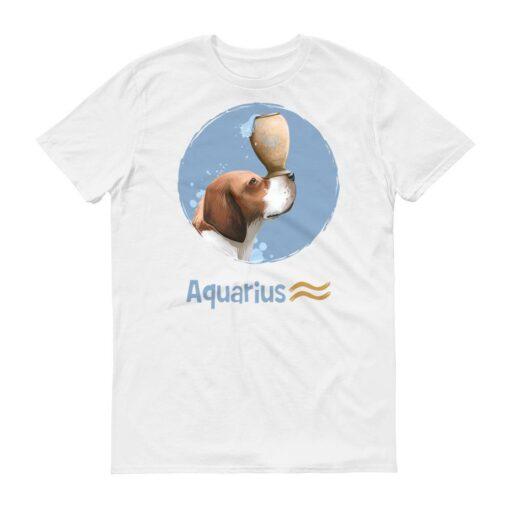 水瓶座狗白色短袖T-Shirt