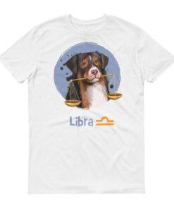 天秤座狗白色短袖T-Shirt