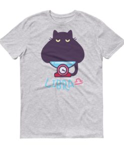 天秤座貓咪淺色短袖T-Shirt