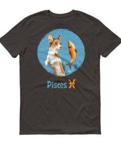 雙魚座狗深色短袖T-Shirt