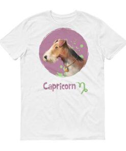 魔羯座狗白色短袖T-Shirt