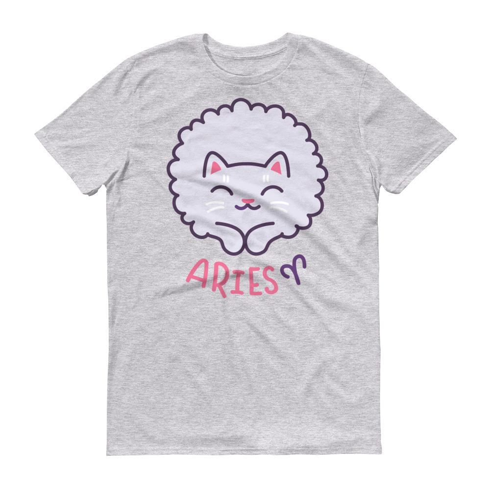 牡羊座貓咪淺色短袖T-Shirt
