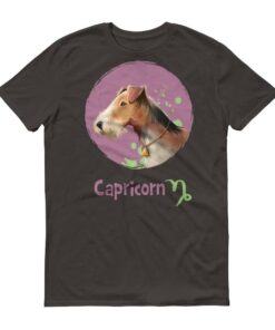 魔羯座狗深色短袖T-Shirt
