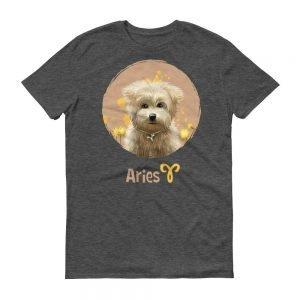 牡羊座狗深色短袖T-Shirt