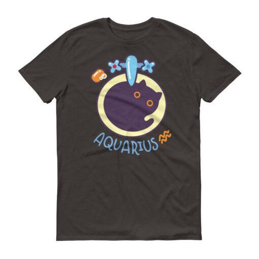 水瓶座貓咪深色短袖T-Shirt