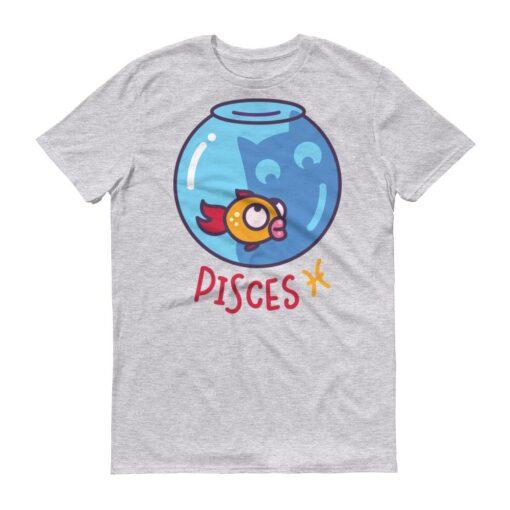 雙魚座貓咪淺色短袖T-Shirt