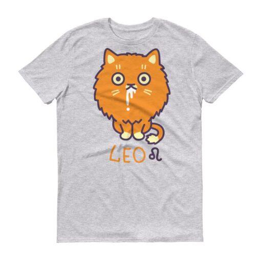 獅子座貓咪淺色短袖T-Shirt