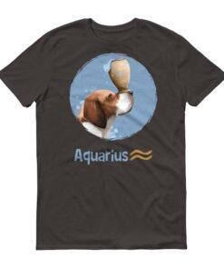 水瓶座狗深色短袖T-Shirt
